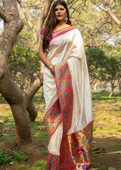 Off-White Woven Paithani Silk Saree