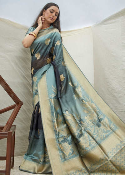 Grey and Golden Handloom Weaving Silk Saree
