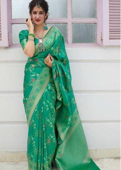 Light Green Silk Saree with Thread Embroidery work and Golden Zari Border