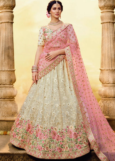 Off-White Georgette Bridal Lehenga Choli with Thread, Zari, Sequin and Swarovski work