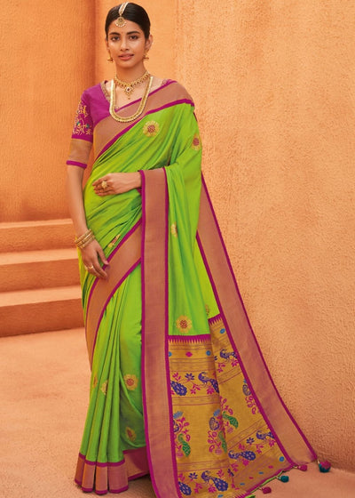 Kelly Green Woven Paithani Saree