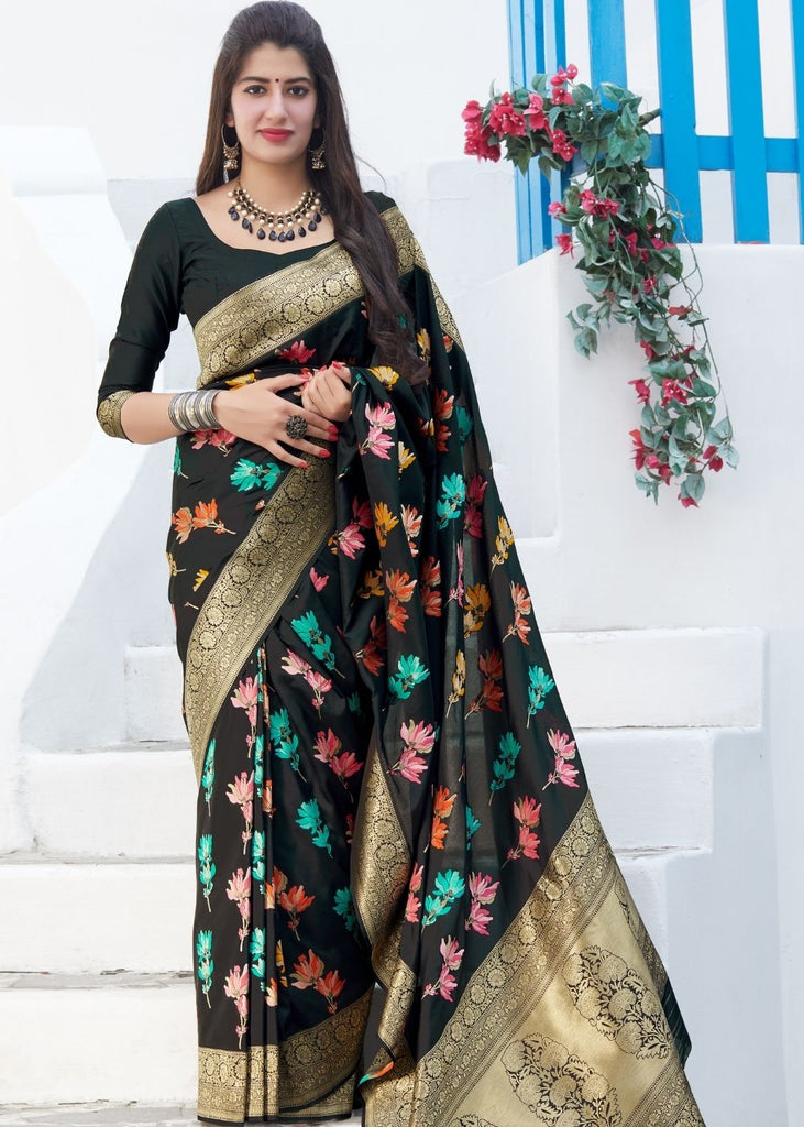 Black Classic Floral Print Silk Saree with Golden Border and Pallu