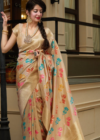 Golden Floral Print Silk Saree with Zari work