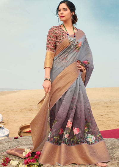 Fog Grey Digital Printed Linen Saree