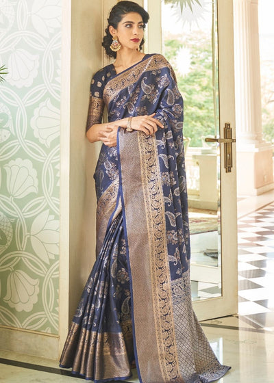 Slate Grey Handloom Weaving Silk Saree