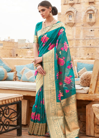 Turquoise Green Pure Linen Silk Saree with Golden Zari work on Border and Pallu