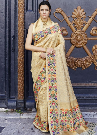 Cream and Golden Blend Silk Saree with Floral Woven Border and Pallu