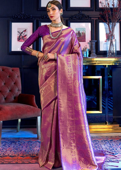 Golden Purple Kanjivaram Soft Woven Silk Saree