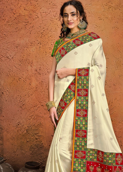 Daisy White Pure Satin Saree with Mirror, Resham & Zarkan work