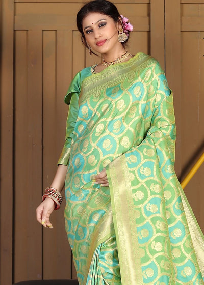 Blue and Green blended Soft Silk Woven Saree with Zari work
