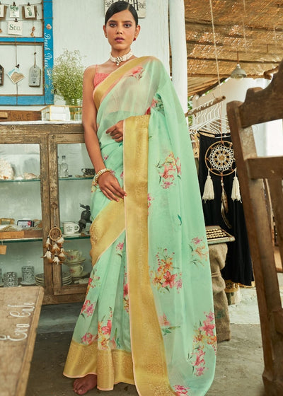 Moss Green Floral Print Cotton-Linen Saree
