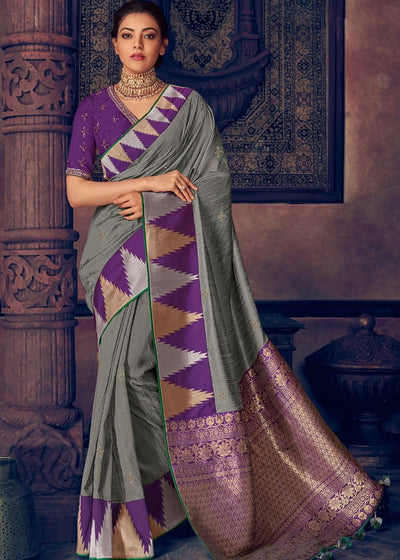 Seal Grey Woven Paithani Silk Saree with Temple work Zari Border