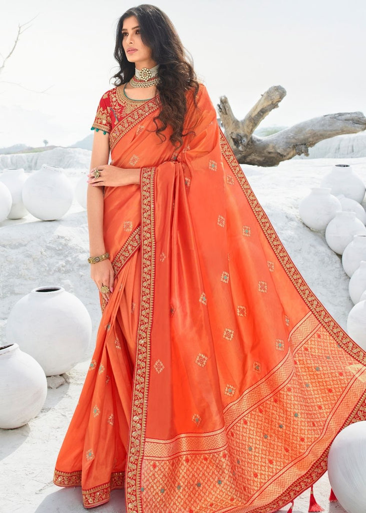 Coral Pink Jacquard Silk Saree with Zari, Resham Embroidery and Stone work