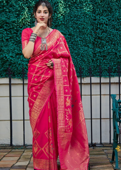 Magenta Gharchola Print Silk Saree with Zari work