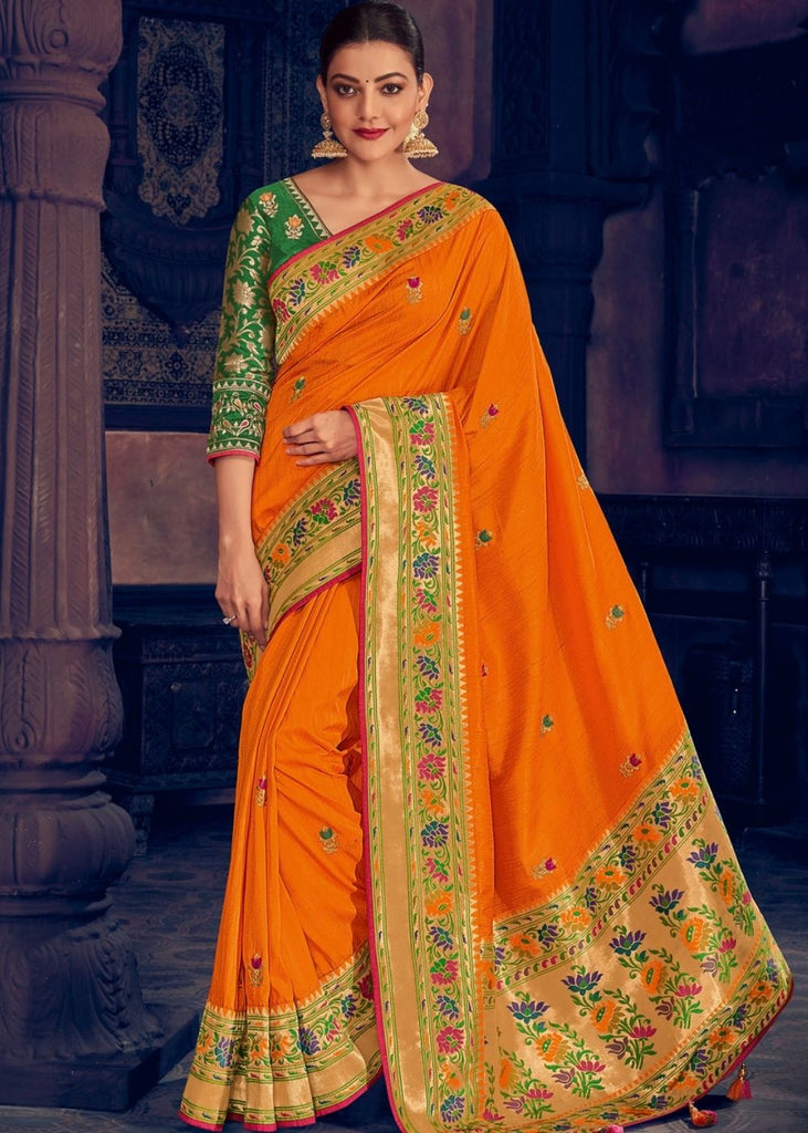 Apricot Orange Woven Paithani Silk Saree with Floral Motif Zari Border