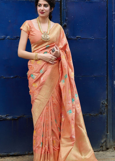 Peach Silk Saree with Thread Embroidery work and Zari Border