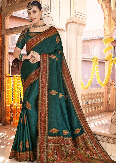 Peacock Green Dola Silk Saree having Kashmiri Brocade Pallu