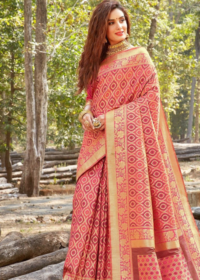 Pink Bridal Pure Silk Banarasi Saree with full Zari weaving