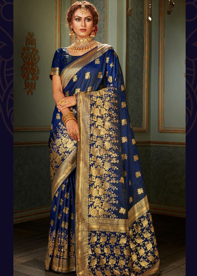 Berry Blue and Golden Banarasi Silk Saree