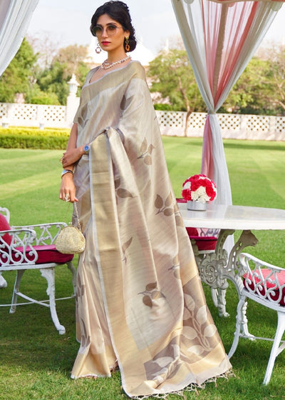 Bone White Woven Chanderi-Banarasi Fusion Silk Saree