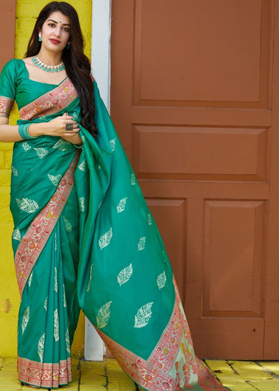 Teal Green Silk Saree with Floral Zari Border and Silver Buti Design