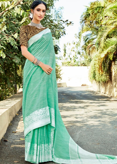 Jungle Green Soft Cotton Linen Saree