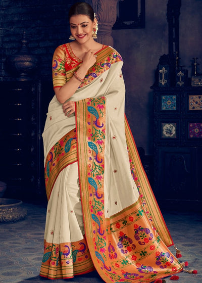 Daisy White Woven Paithani Silk Saree with Floral Motif Zari Border