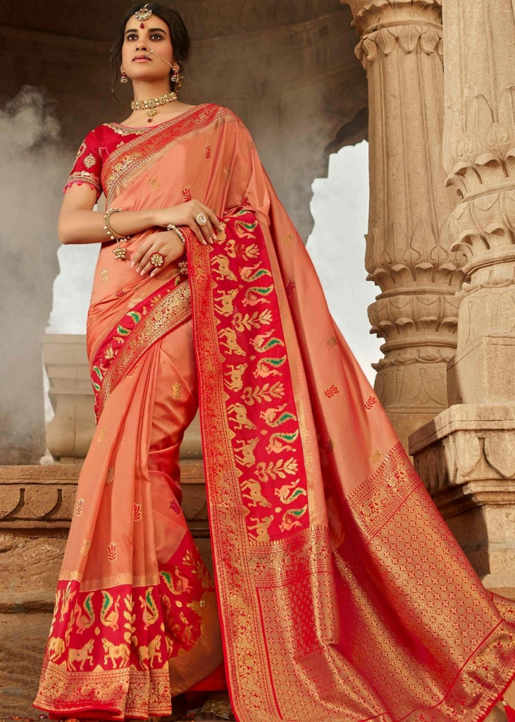 Coral Pink Zari Woven Banarasi Silk Saree with Designer Embroidered Blouse