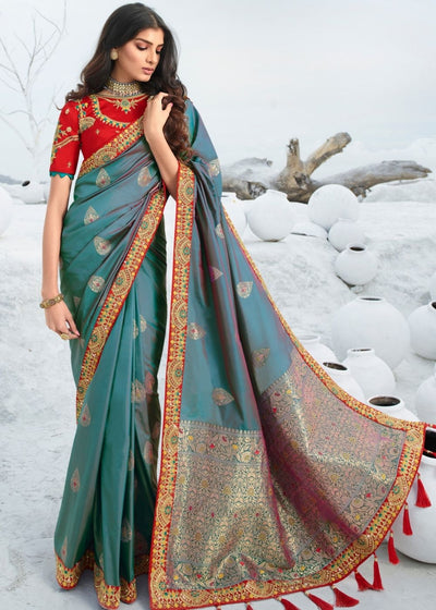 Greyish Blue Jacquard Silk Saree with Zari, Resham Embroidery and Stone work