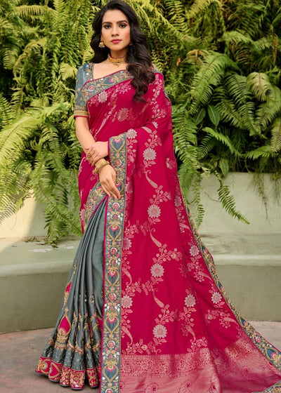 Pink and Grey Half N Half Silk Saree with Embroidered work