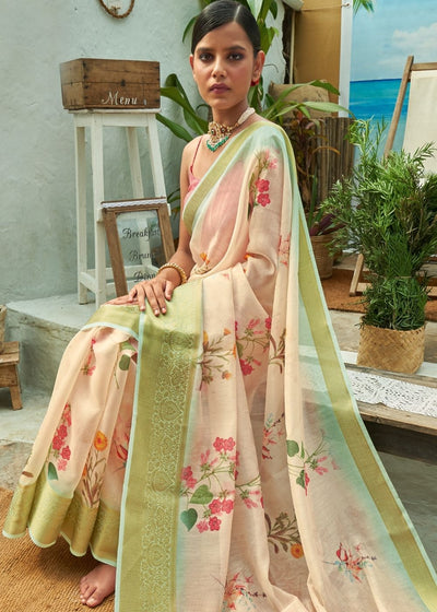 Salmon Pink Floral Print Cotton-Linen Saree