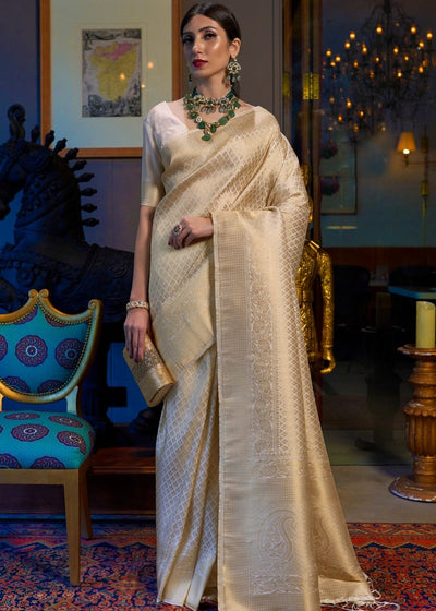 Golden Linen Kanjivaram Soft Woven Silk Saree