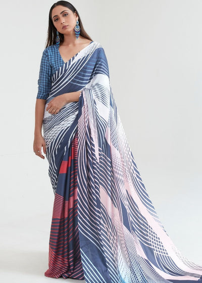 Steel Blue & White Satin Silk Digital Printed Saree