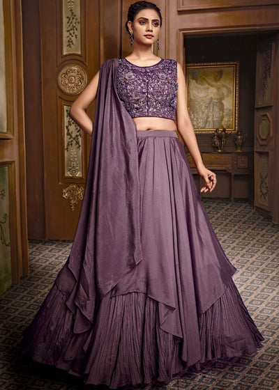 Purple Satin Silk Designer Lehenga Choli with Heavy Embroidery work