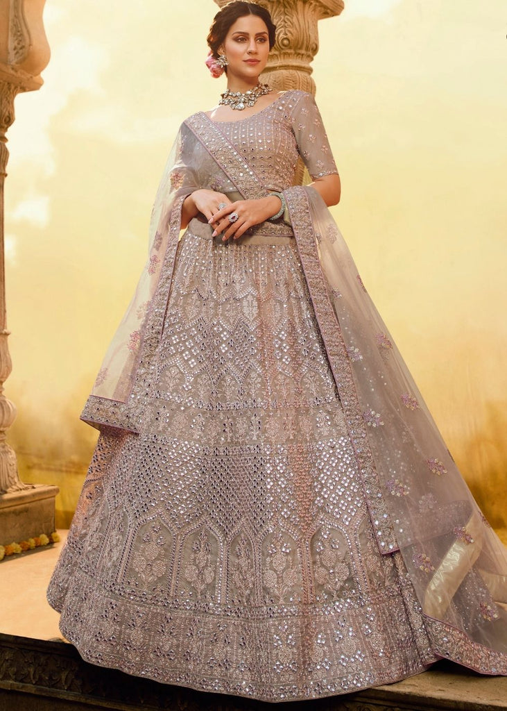 Onion Pink Crepe Bridal Lehenga Choli with Resham Embroidery and Sequence work