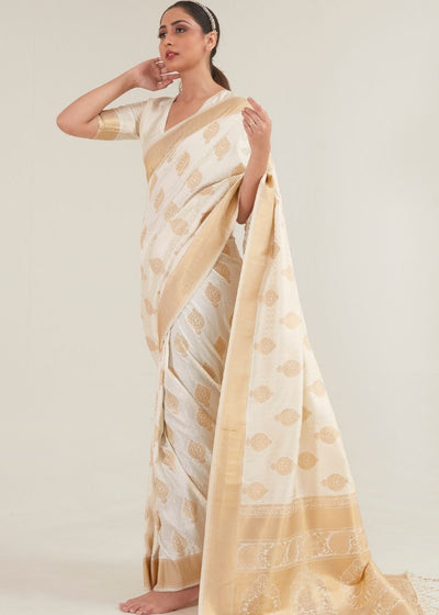 Beige White Zari Butta Woven Banasari Silk Saree