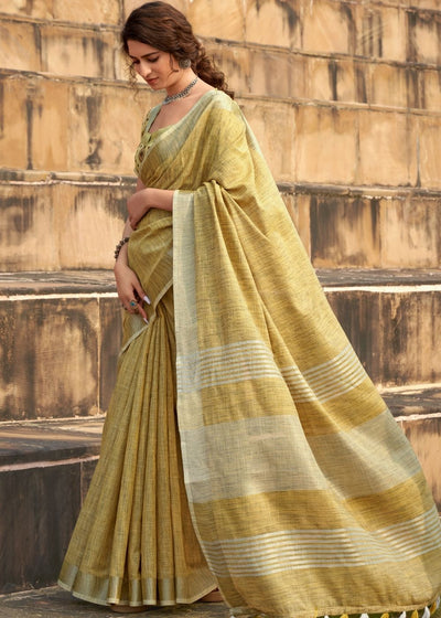 Royal Yellow Soft Linen Silk Saree with Khadi Print and Tassels on Pallu