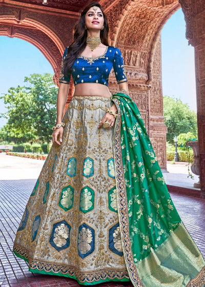 Grey Banarasi Silk Lehenga with Panel work design