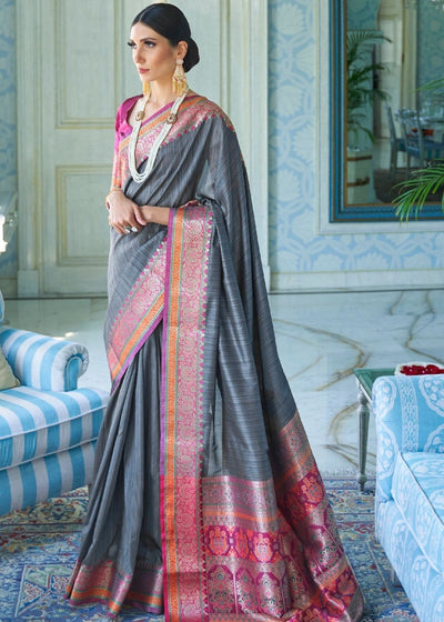 Fossil Grey Tussar Silk Saree with Woven Border and Pallu