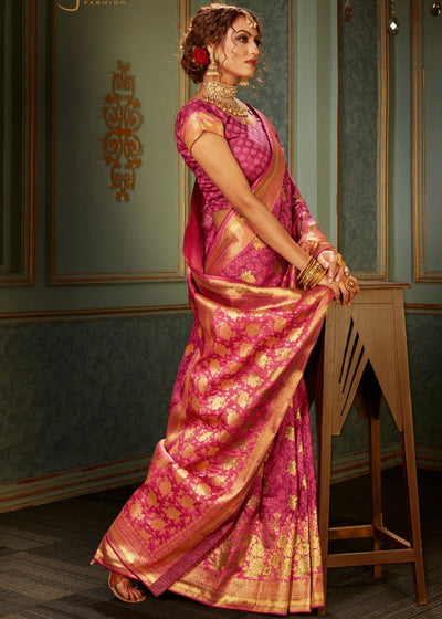 Fuscia Pink and Golden Banarasi Silk Saree