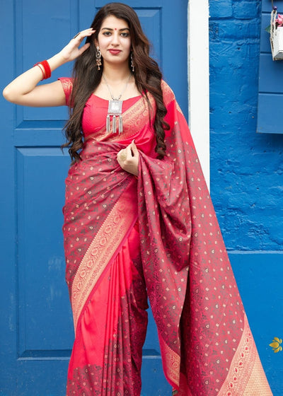 Pink and Burberry Silk Saree with Heavy Golden Border