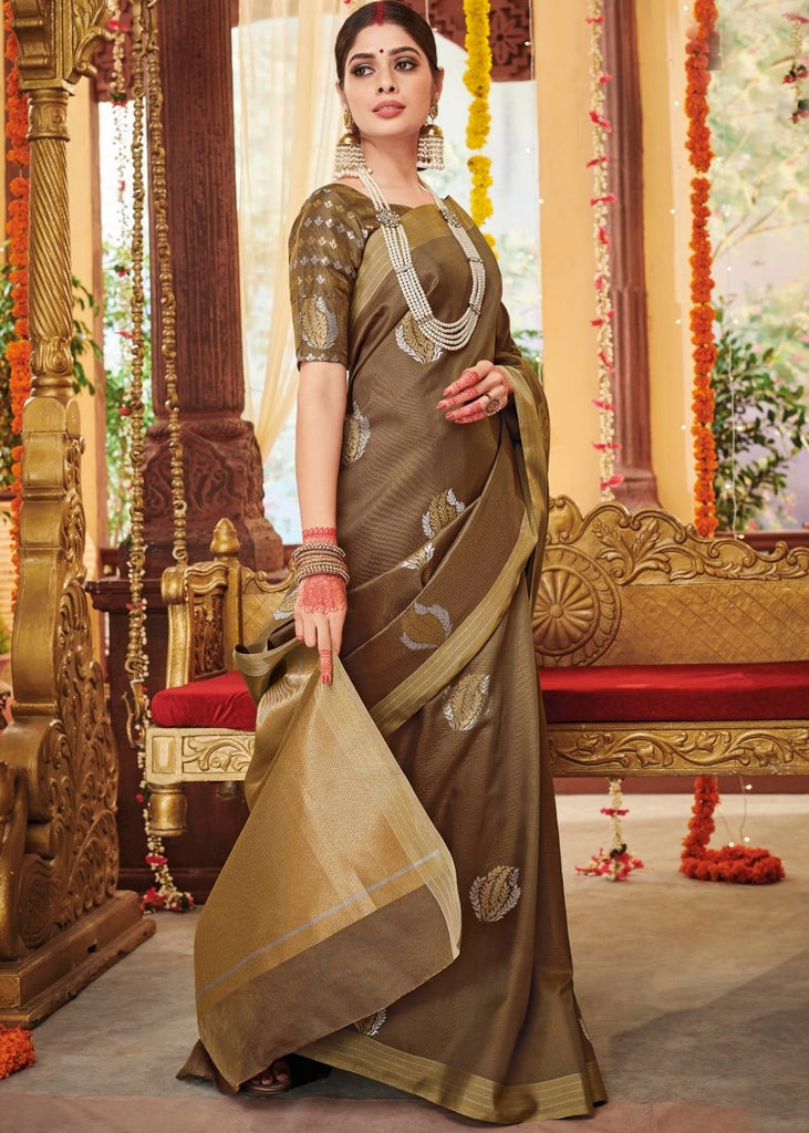 Coffee Brown Zari Butta Woven Soft Silk Saree