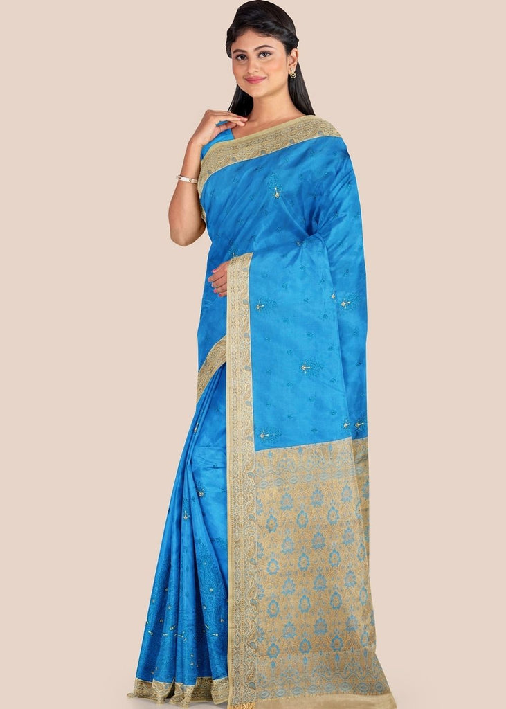 Cerulean Blue Woven Chanderi Cotton Silk Saree