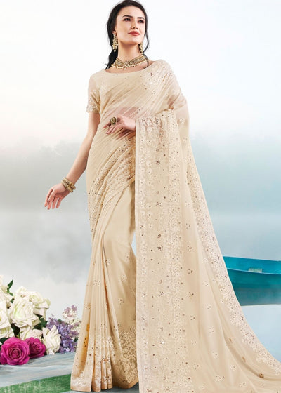 Linen White Georgette Embroidered Designer Saree