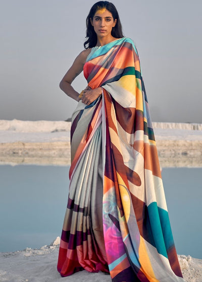Multicolor Digital Printed Crepe Silk Saree