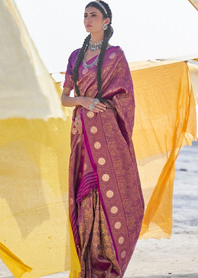 Wine Purple Soft Silk Woven Kanjivaram Saree : Special Edition