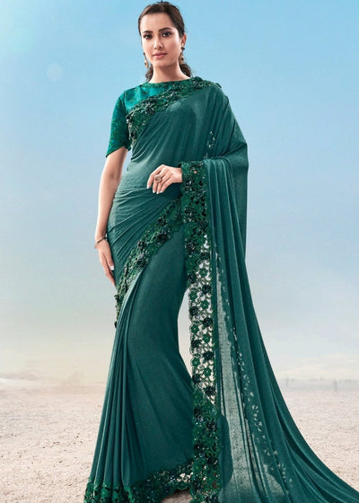 Turquoise Green Georgette Saree with Jari Thread and Diamond work