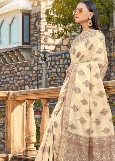 Beige Soft Cotton Silk Weaving Saree with Zari work