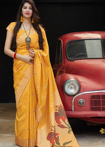Mustard Silk Saree with Golden Zari Border