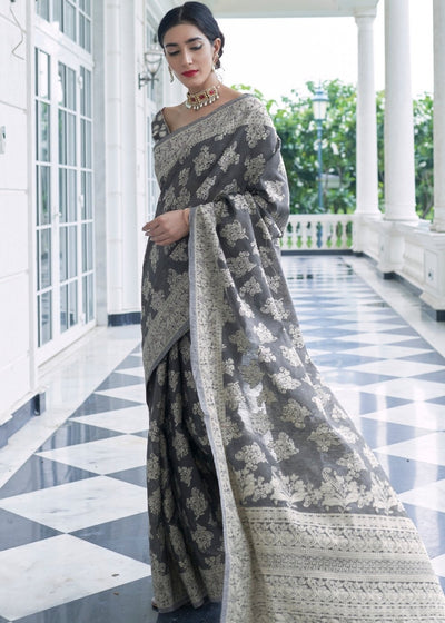 Silver Grey Lucknowi Chikankari Weaving Silk Saree